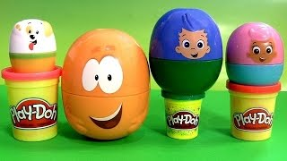 Play Doh BUBBLE GUPPIES SURPRISE EGGS Stacking Cups Pocoyo Disney Frozen HelloKitty Kinder PlayDough