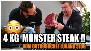 4 kg MONSTER STEAK grillen! Wir testen den Outdoorchef Lugano 570 G mit einem RIESIGEN STEAK!