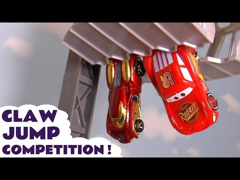 Disney Cars Toys McQueen claw jump competition with Hot Wheels Spiderman and Iron Man TT4U