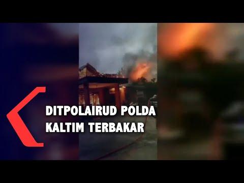 satu bangunan ditpolairud polda kaltim ludes terbakar