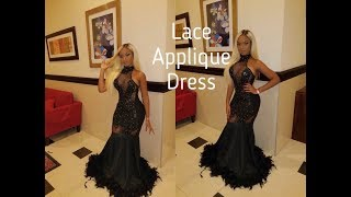DIY HOW TO MAKE  A LACE APPLIQUE PROM DRESS WITH FEATHER | JamaicanDesigner