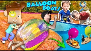 BUBBLE ROLL + INFLATABLE BALLOON BOATS! Sumo Wrestling Bumper Fail