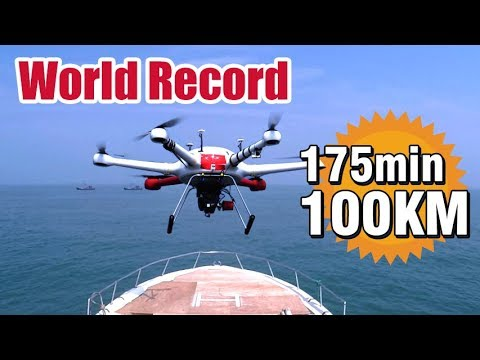 Hybrid Drone World Record: 175 mins flight time and 100 KM range