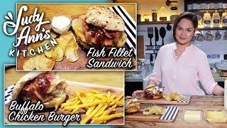 [Judy Ann's Kitchen 10] Ep 2 : Buffalo Chicken Burger and Fish Fillet Sandwich | Valentine's Paandar