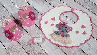 Cute Bib, Baby Bottle and Little Girl Baby Shoes Cake Topper