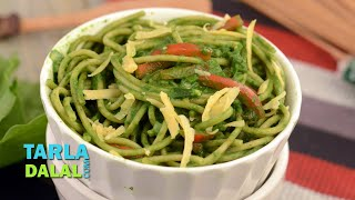 Spaghetti in Spinach Sauce by Tarla Dalal