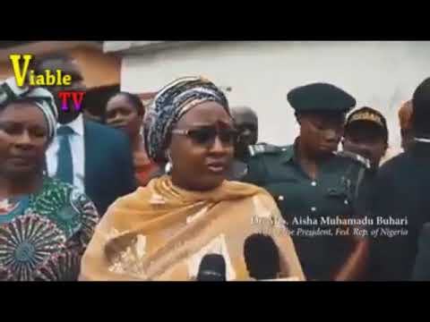Just In : Aisha Buhari Visits Victims Of Lagos Building Collapse