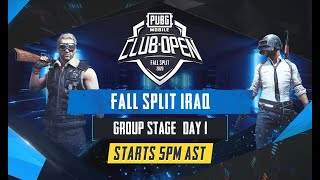[Arabic] PMCO Iraq Group Stage Day 1   Fall Split   PUBG MOBILE CLUB OPEN 2020