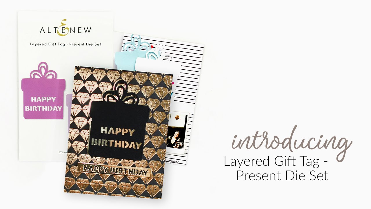Altenew Layered Gift Tag, Present -stanssisetti
