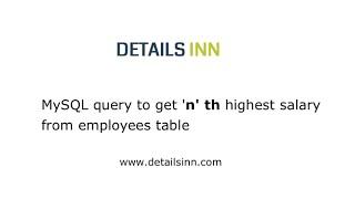 Finding n th highest salary in MySQL