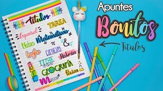 APUNTES BONITOS: Titulos Bonitos #REGRESOACLASES
