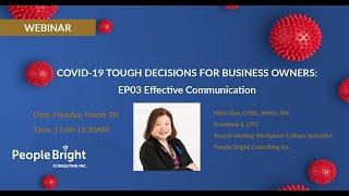 COVID-19 TDBO – EP03 Effective Communication