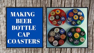HOW TO MAKE BEER BOTTLE CAP COASTERS. CRAFTING WITH RESIN. DIY COASTERS.