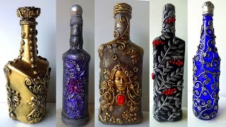 5 Bottle Decoration Ideas/ Bottle Art/ Decorate Wine Bottle
