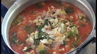 Mixed vegetable sour soup (แกงส้มผักรวม ครัวหมอเขียว สวนป่านาบุญ ๓)