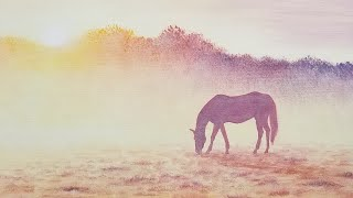 Easy Horse Silhouette Landscape Acrylic Painting LIVE Tutorial