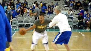 Stephen Curry of Golden State Warriors during his warm up at SAP Center in San Jose 2016