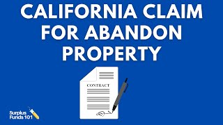Claim for Abandoned Property State Of California: Filling Out The Paper Work Correctly.