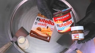 Nutella Ice Cream Rolls   nutella spread B-ready &GO! in a mix! satisfying Chocolate Food ASMR Video