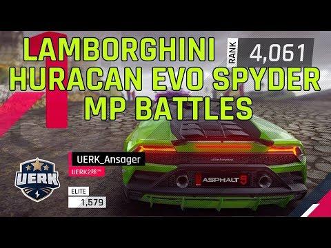 アスファルト9: Lamborghini Huracan Evo SpyderがMPの戦い