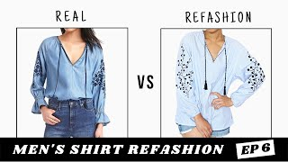 Mens Shirt Refashion | Embroidered Top Dupe