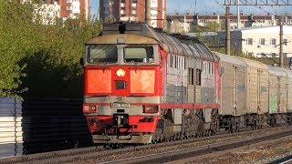 Разгон 2ТЭ116-1625 с грузовым поездом