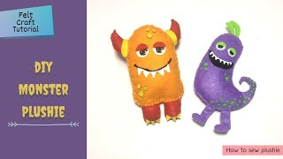DIY Felt Monster Plush/Mini Soft Toy   How To Sew Plush   Step By Step Tutorial For Beginners