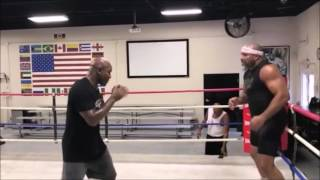 Shannon Briggs and Evander Holyfield Shadow Boxing