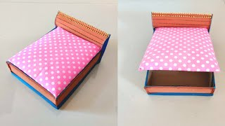 How To Make Cardboard Doll Bed For Barbie | With Storage | DIY
