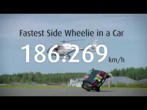 The fastest side wheelie in a car: Watch the Guinness World Record Fastest side wheelie in a car!