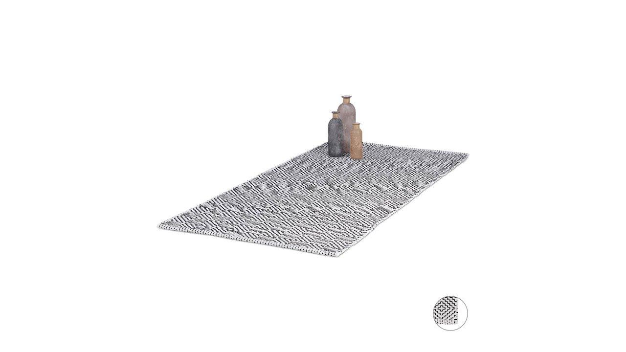 Video von: Teppich Läufer Baumwolle Schwarz-Weiß