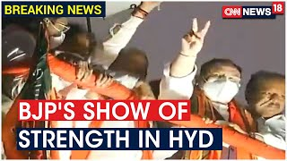BJP President JP Nadda Conducts Roadshow In Hyderabad Ahead Of GHMC Polls | CNN News18 - Download this Video in MP3, M4A, WEBM, MP4, 3GP