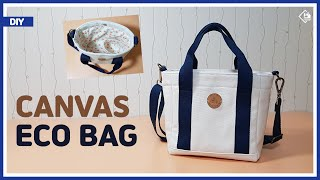 DIY/ CANVAS ECO BAG/ TOTE BAG/ 캔버스 원단으로 미니 에코백 만들기/ 겉감과 안감 부착방법/ 토트백/ Sewing/ Tutorial [Tendersmile]