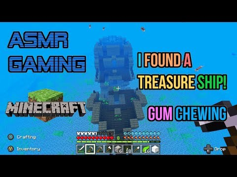 ASMR Gaming | Minecraft Found A Secret Treasure Ship! Gum Chewing 🎮Controller Sounds + Whispering😴💤