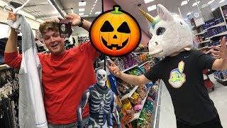 My BROTHER Goes HALLOWEEN Costume Shopping! UNICORN MASK? Fuzzy Vlogs #1