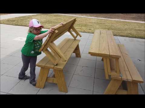 Benches Transform Into Picnic Tables