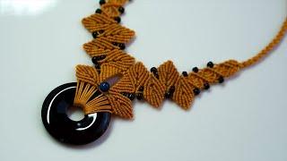 Macrame  Tutorial: Beautiful Macrame Necklace Jewelry Ideas Using Donut Bead, Stones And Beads.