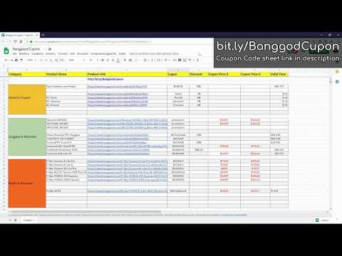 , title : 'Coupon Code Spreadsheet - Banggood 13th Anniversary'