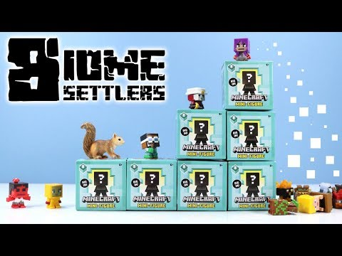 Minecraft Mini-Figure Biome Settlers Series 8 Mystery Boxes Collection Review & Codes