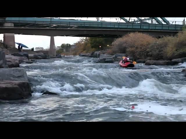Kayak class II rapids in Downtown Denver Colorado
