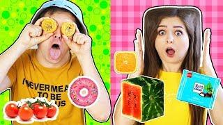 24 часа едим только квадратную и круглую еду! Челлендж 🐞 Эльфинка