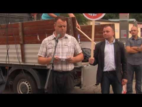 Wahlkampfauftakt zur Bundestagswahl 2013 vor Erfurter Schächt-Fleischerei