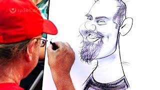 Nice drawing of caricatures with charcoal and creativity.