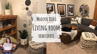 MODERN BOHEMIAN Living Room Redecorate | SeeEliseDecorate | Boho Chic Decor