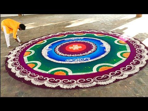 big colorful mandala rangoli design by ganesh vedpathak