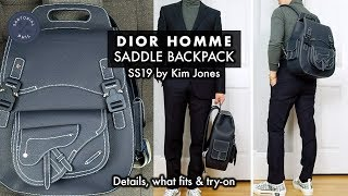 Dior Homme/Mens Summer SS19 Navy Saddle Backpack By Kim Jones: Details, What Fits & Try-on