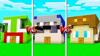 UNSPEAKABLE vs MOOSE vs SHARK MINECRAFT HOUSE!