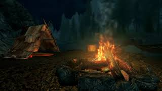 Skyrim -ASMR-SleepAid- Nap Time By Fire & Stream - Ambient Sounds