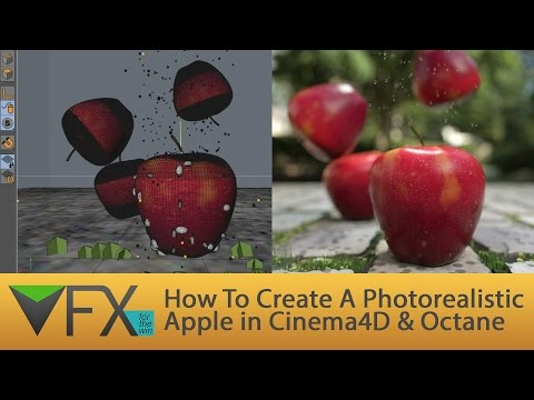 Cinema4D Tutorial- How To Create A Photorealistic Apple in Cinema4D & Octane