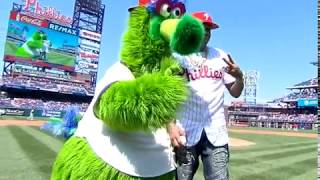 Allen Iverson throws the first phich at Phillies game